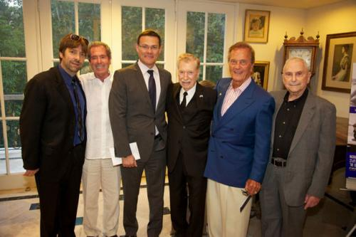 Our executive producer, Mark Lansky, flanked by Mike Flint and Consul General David Siegel, with Pat Boone who's flanked by our pilot heroes Giddy and Mitchell