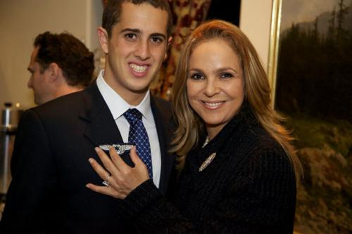 Dina Leeds with her son, Jonathan, who received his ceremonial AIF wings from Giddy Lichtman